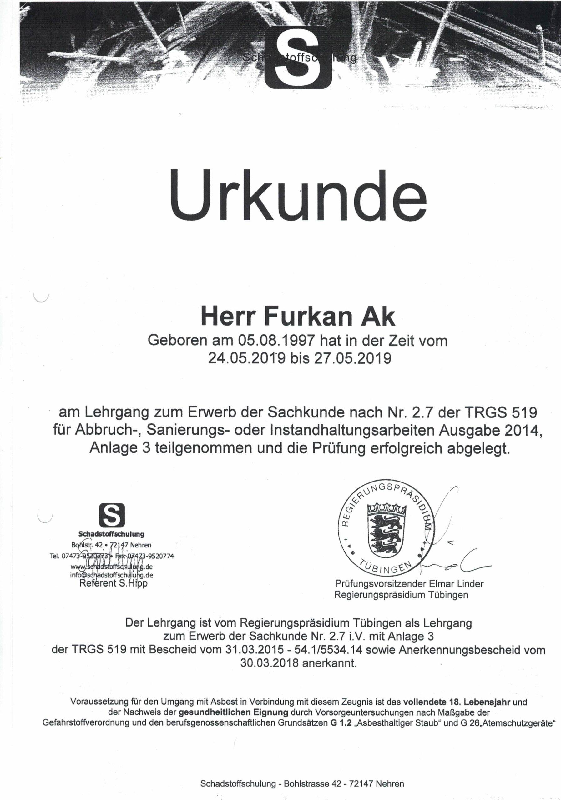 Urkunde Furkan